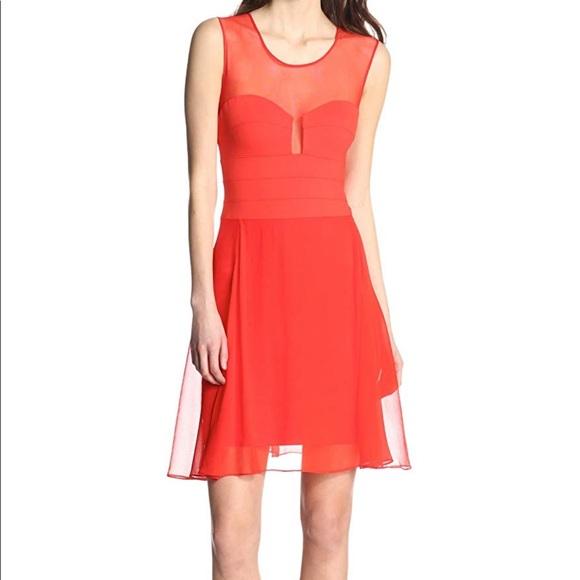 BCBGMaxAzria Dresses & Skirts - BCBG Ponte Silk Red Sleeveless Dress